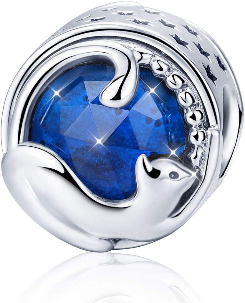 Abalorio de plata de ley 925 con diseño de gato de la suerte, con piedra natal azul, compatible con pulseras Pandora