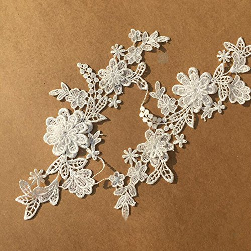 1 Pair Off-white Lace Flower Applique Headdress Hair Accessories Flowers Wedding Dress Patch DIY Accessories Bridal Veil (Lace Headdress)