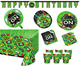 Video Game Party Supplies Tableware Decorations Set - Set of 16 - Plates, Napkins, Cups, Banner, Table Cover, Balloon Kit