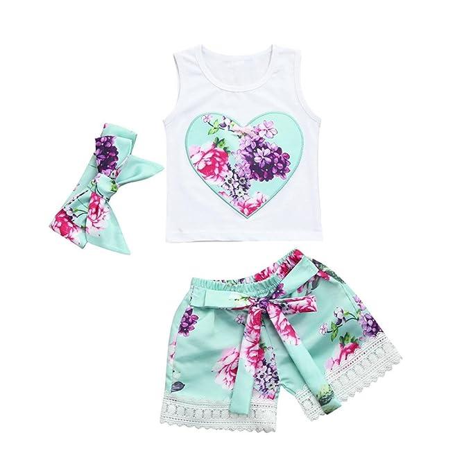 PAOLIAN Conjuntos para bebe niñas Verano 2018 Camisolas + Pantalones corta + Diademas Bowknot Impresion Floral
