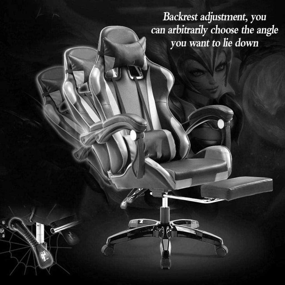 Chaises de Bureau, Chaise de Bureau Chaise de Jeu Haut Dossier Informatique Chaise de Bureau réglable pivotant Têtière Support Lombaire (Color : Black White) Black Gold