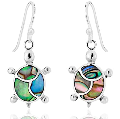 945ab73a2 DTPSilver - 925 Sterling Silver and Abalone Paua Shell Turtle Earrings:  Amazon.co.uk: Jewellery