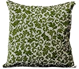 Jacquard Floral Pillow Covers, 16'' X 16'', Set of 2 (Green)