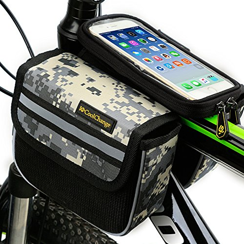 Pvc Bike Racks (Bike frame rack phone bag with 5.7 inch waterproof mobile phone touch screen case outdoor sporting cycling bicycle storage frame bag with water resistance cell phone holder bike accessory camouflage)