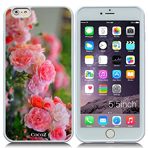 New Apple iPhone 6 Plus 5.5-inch CocoZ?Case Beautiful roses flowers designs TPU (White TPU& Rose Flowers 3)