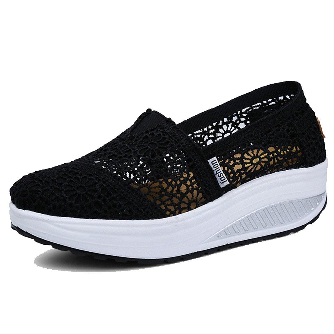 Women's Mesh Platform Walking Shoes Lightweight Slip-on Fitness Work Out Sneaker Shoes (7.5 B(M) US, Black1)