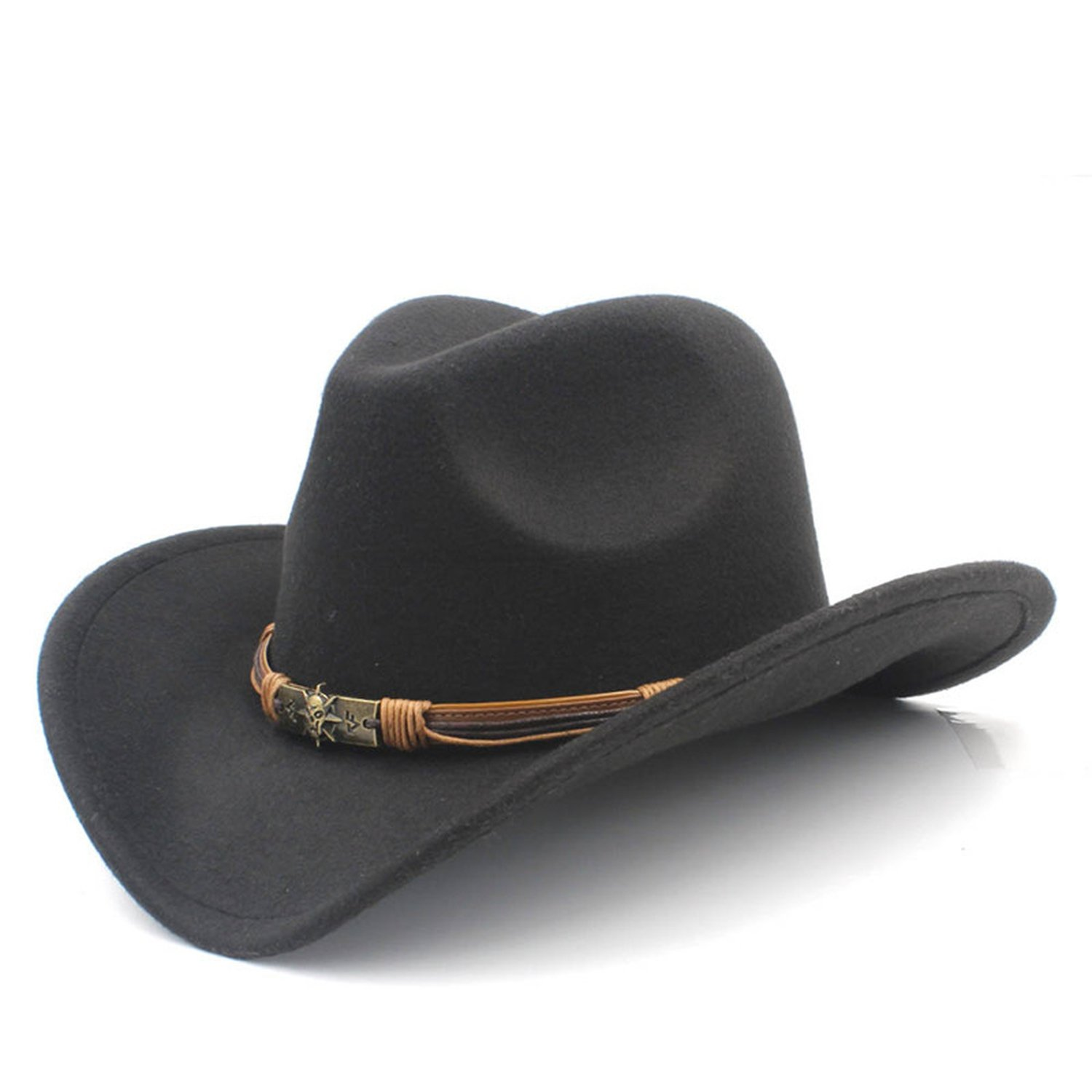 373354bc Amazon.com: Fashion Women Men's Wool Hollow Western Cowboy Hat with Sun God  Belt Cowgirl Jazz Toca Sombrero Godfather Cap Black: Clothing