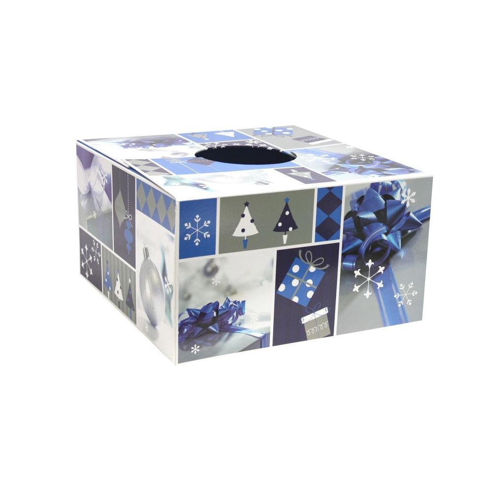 6 in. Dia Blue and Silver Design Tree Skirt Box (Pack of 3)