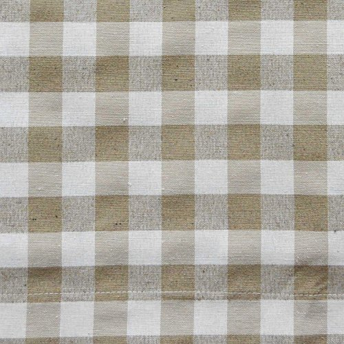 Taupe 3 Piece Gingham Check Kitchen Window Curtain Set: Plaid, Cotton Rich, 1 Valance, 2 Tier Panels (Matching 3 Piece Window Curtain Set)