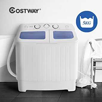 Costway Mini Twin Tub Washing Machine (5KG Washing + 3KG Drying) Portable  Washer Spin