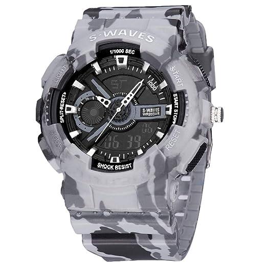 Relojes De Pulsera Reloj De Cuarzo A Prueba De Agua con Pantalla LCD Doble Reloj De Los Hombres De Ocio Impermeable con 1052 Cenizas.: Amazon.es: Relojes