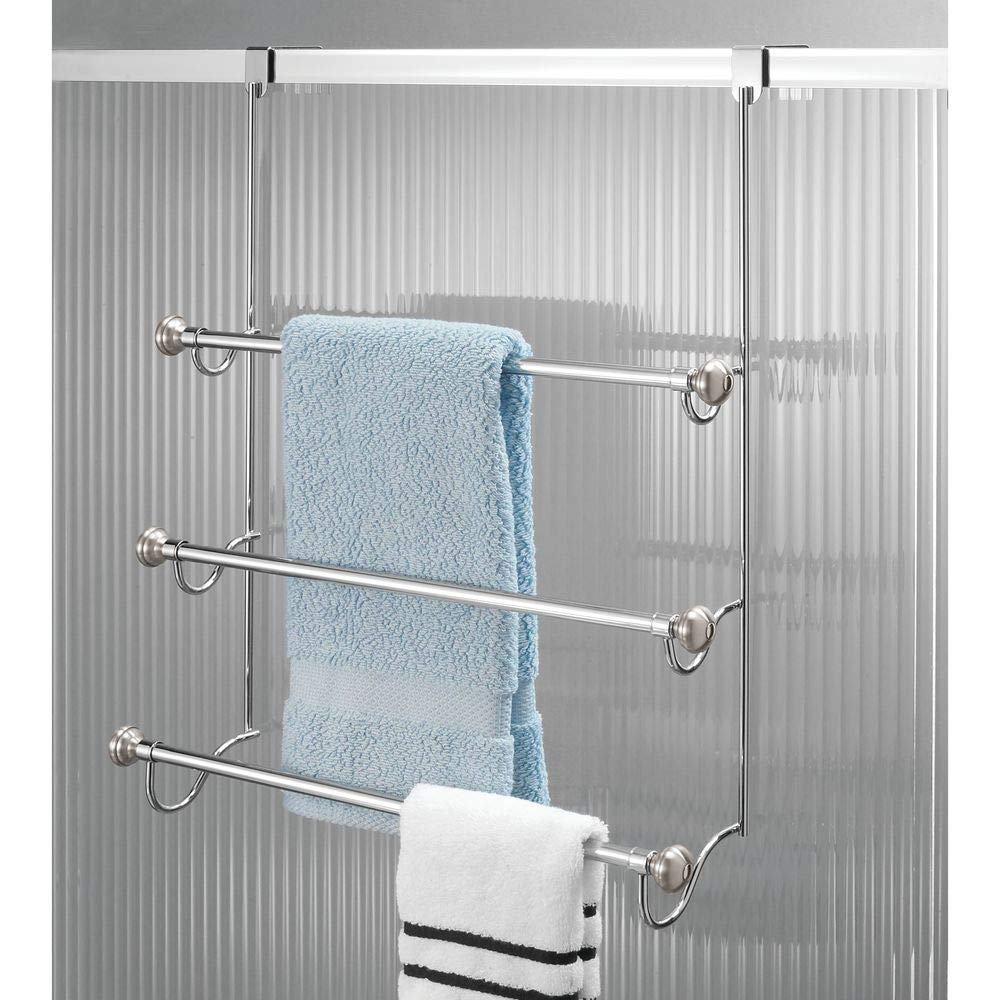 Amazon.com: InterDesign York Over-the-Shower Door Triple Towel Rack ...