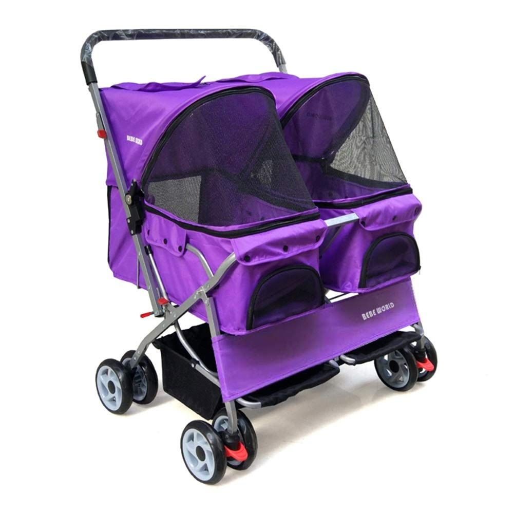 Purple MEI Pet Backpacks Two-Seater Pet Stroller with Double Sleeping Baskets Ultra-Lightweight Foldable Washable Dog Cart Outing Pet Car One-Hand Fold (color   Purple)