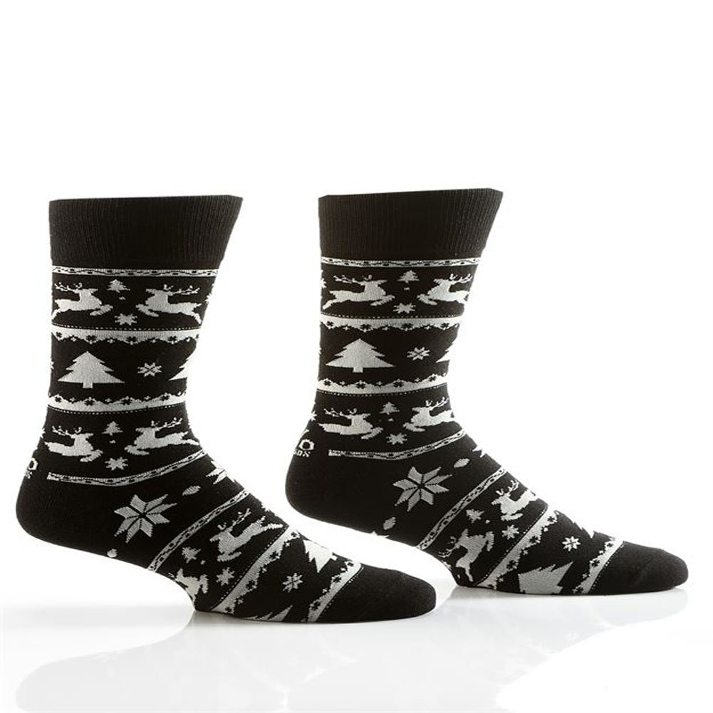 Yo Sox Men's Crew Socks Black Holiday Nordic Patttern 411212