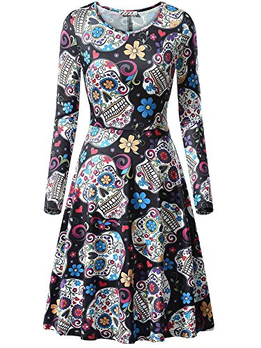 KIRA Sugar Skull Dress, Womens Halloween Costumes Skull Print Party Dress for $<!--$18.88-->