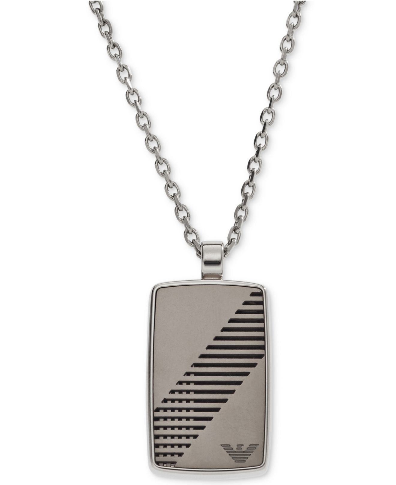 Emporio Armani Iconic Stainless Steel Rounded Eagle Logo Dog Tag Necklace EGS2027040 in Gift Box