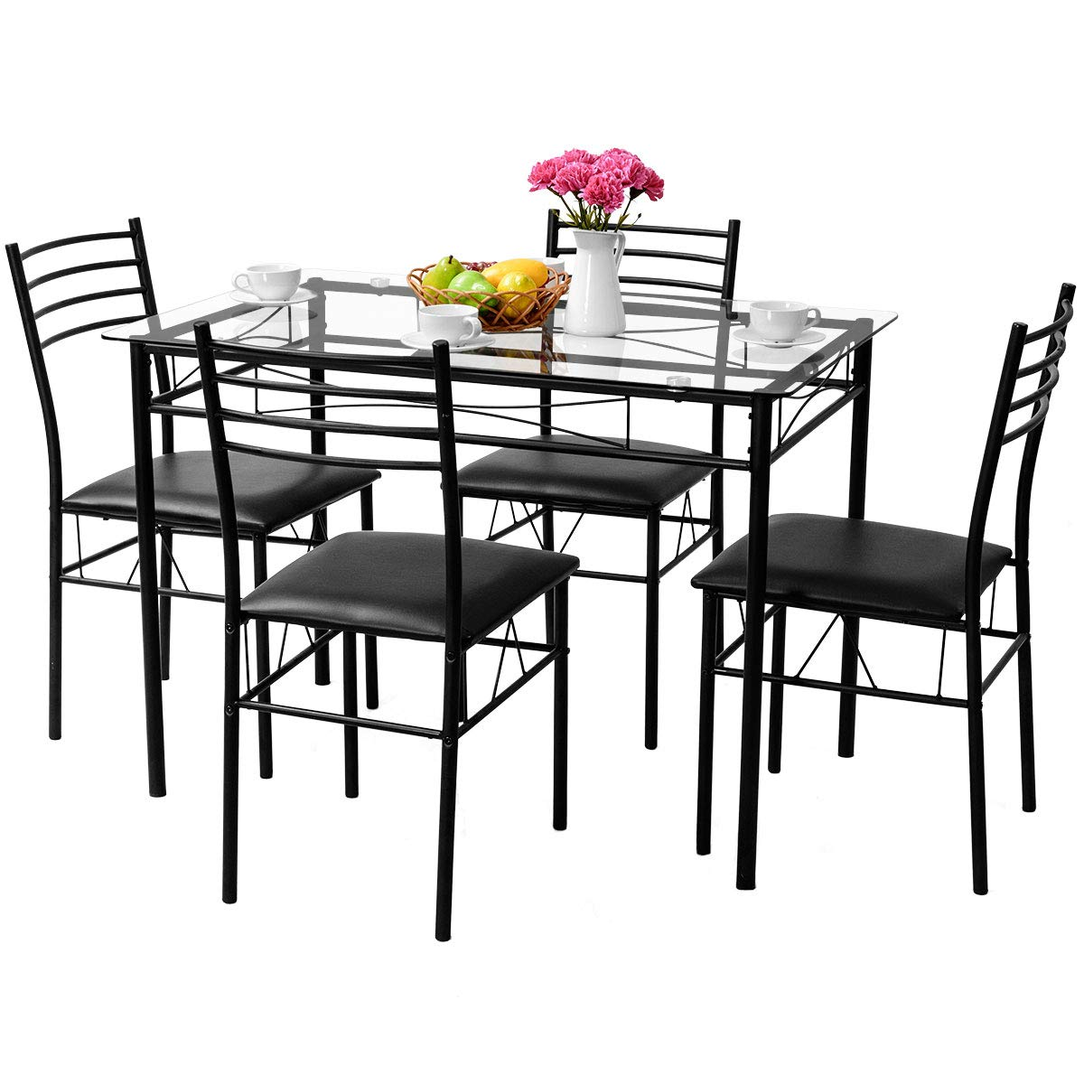 Tangkula Dining Table Set 5 Pieces Home Kitchen Dining Room Tempered Glass Top Table And Chairs Breaksfast Furniture Dinning Table With Chairs Black