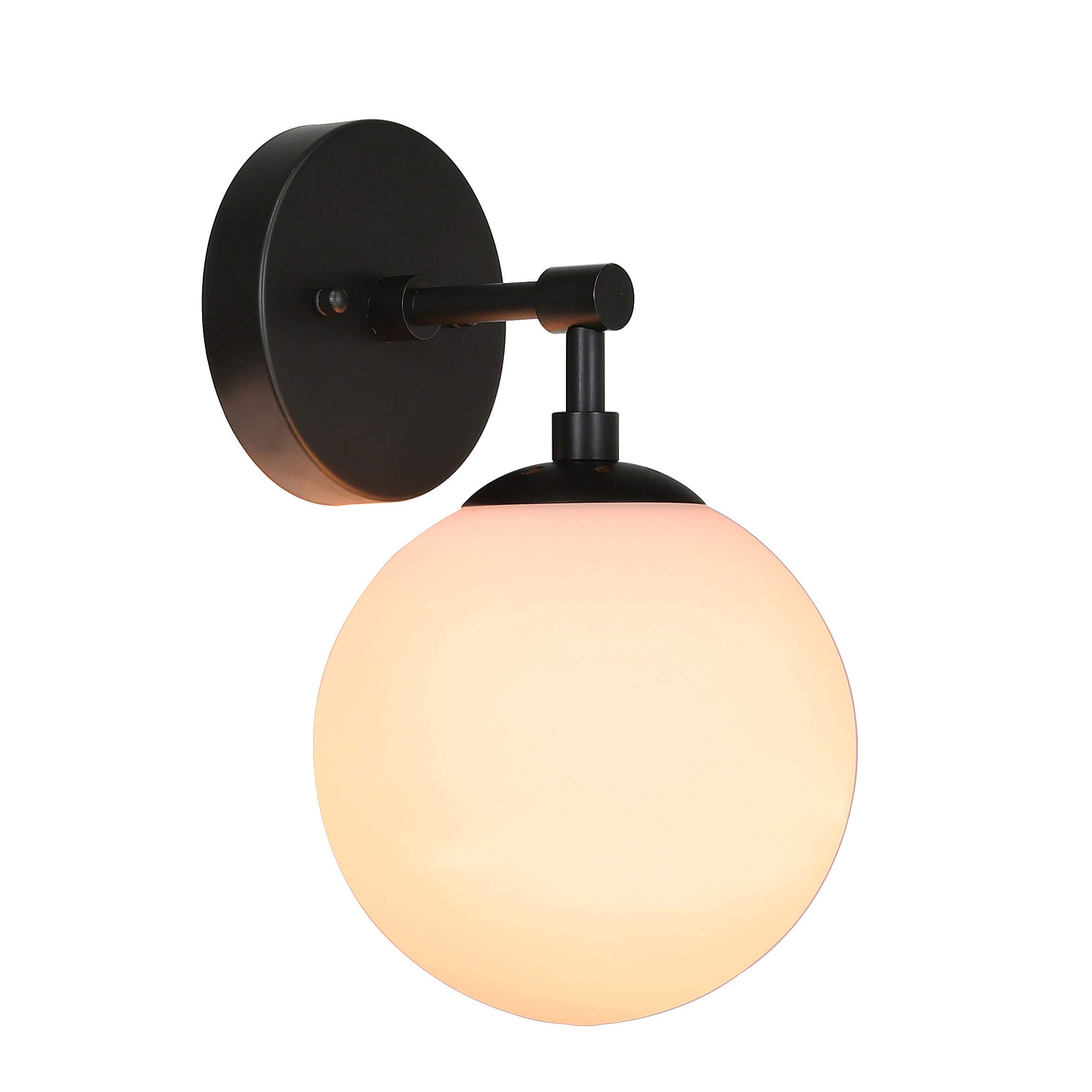 XiNBEi Lighting Wall Light 1 Light Vintage Wall Sconce with Globe Glass, Bathroom Vanity Light in Matte Black for Bathroom & Bedroom XB-W1211-MBK