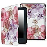 "Electronics : Fintie Case for All-New Kindle E-reader (8th Generation 2016) - The Thinnest and Lightest SmartShell Cover Auto Wake/Sleep for Amazon All-New Kindle (6"" Display, 8th Gen 2016 Release), Flower Purple"