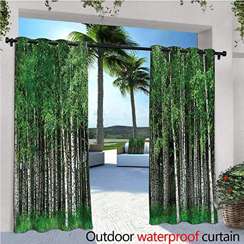 warmfamily Forest Patio Curtains Swedish Summer Landscape Outdoor Curtain for Patio,Outdoor Patio Curtains W72 x L84