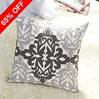 Euro Decorative Throw Pillow Cover   PONY DANCE Cotton Floral Embroidered  Pillowcase Square Damask Sofa Cushion