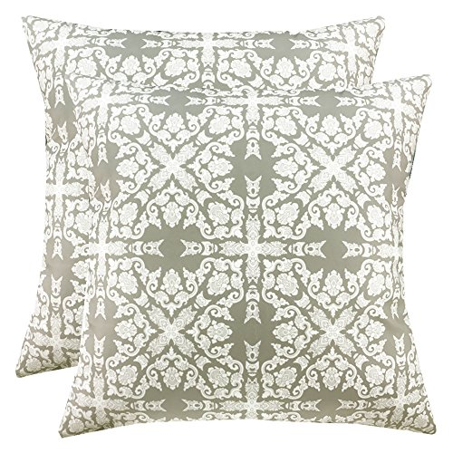 SLOW COW Decorative Throw Pillow Covers Premium Handmade Velvet Cushion Covers with Invisible Zipper, 18 x 18 Inches, Set of 2, Grey