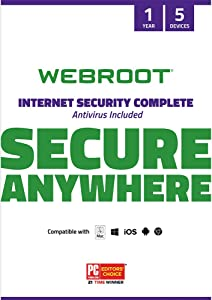 Webroot Internet Security Complete with Antivirus Protection – 2019 Software | 5 Device | 1 Year Subscription | PC/Mac CD with Keycard