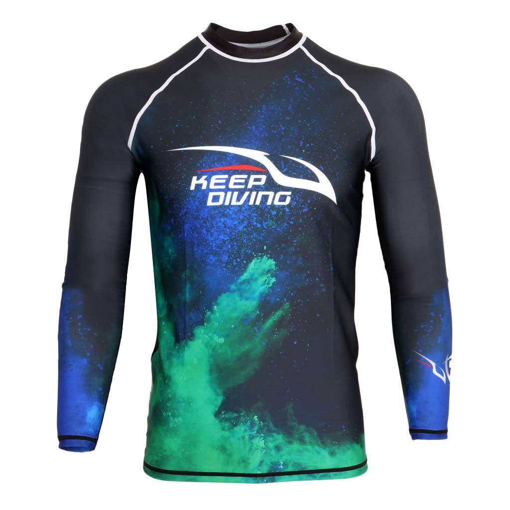 perfeclan Rashguard Maglietta A Maniche Lunghe da Uomo per Snorkeling e Nuoto
