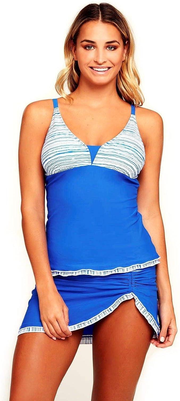 Women Two Piece Deep V Neckline Tankini Skirt Skort Halter 2 PC Set Swimsuit Set