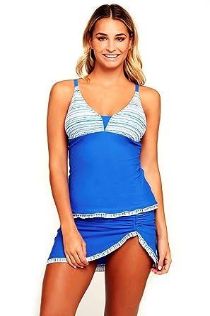 8bf51c949 Women s Blue Two Piece Tankini Top Swim Skirt Skort Swimsuit 2 PC Set  Swimwear