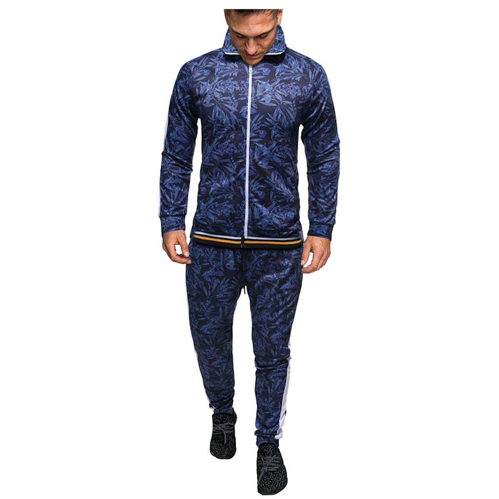Men's Tracksuit Set 2 Piece Athletic Sports Casual Full Zip Activewear Winter Sweatshirt Top Pants Sets Sport Suit (Blue, M) by Jieou