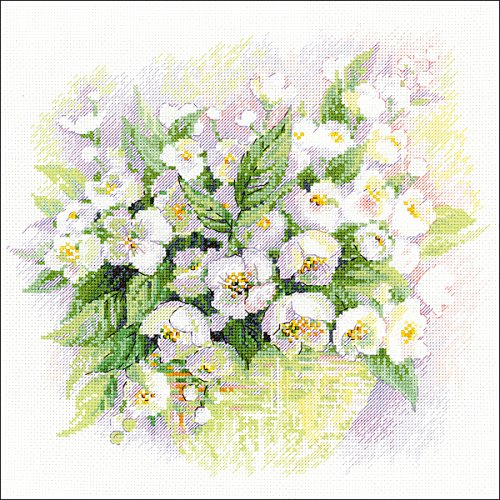 watercolour jasmine counted cross stitch