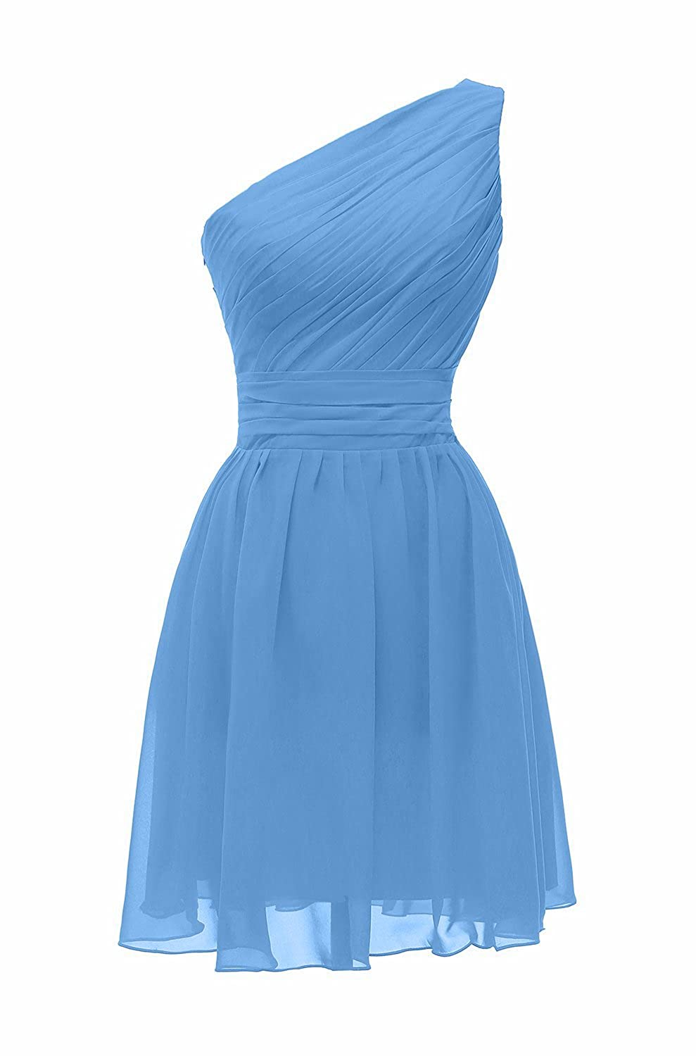 Lily Anny Womens Short One Shoulder Chiffon Bridesmaid Dresses Prom Gowns L195LF