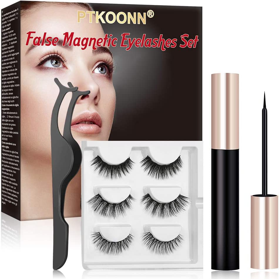 Magnetic Eyelash, Magnetic Eyeliner, Magnetic Eyeliner and Lashes Kit,Magnetic Eyeliner with 3 Styles False Magnetic Lashes, 3D Reusable, No Glue Magnets Waterproof