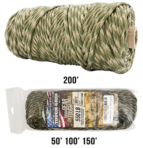 TOUGH-GRID 550lb Paracord/Parachute Cord - 100% Nylon Genuine Mil-Spec Type III Paracord Used The US Military - Great Bracelets Lanyards - Made in The USA. 1000Ft. - Forest Camo