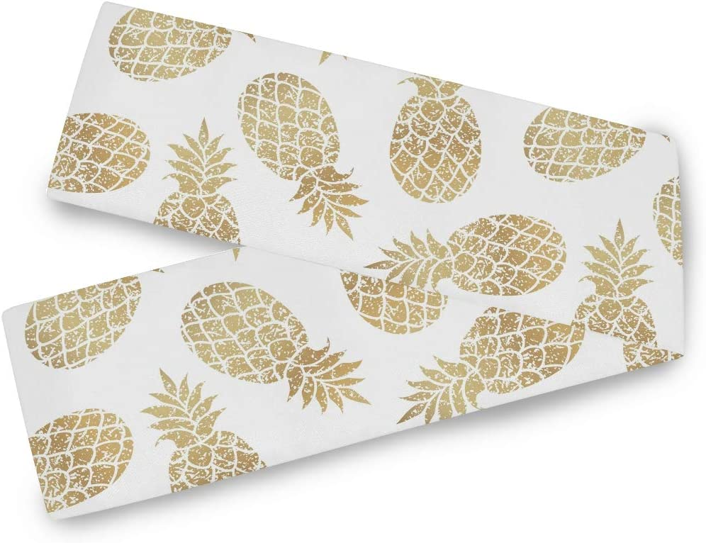 Bardic CFAUIRY Table Runner Gold Pineapple 13x70 Inch Long for Wedding Dining Kitchen Coffee Table Runner Holiday Party Season Modern Decor