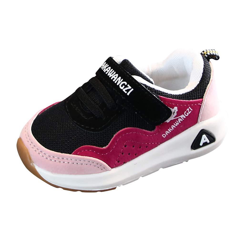 Respctful✿ Kids Hook & Loop Soft Bottom Non Slip Prewalker Sneaker Shoes Pink by Respctful_shoes