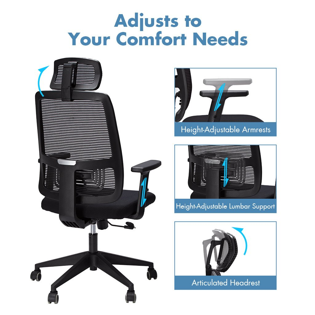 Black 360 Degree Swivel Computer Chair for Home Office Study Headrest and Lumbar Support SLYPNOS Ergonomic High-Back Mesh Executive Office Chairs with Adjustable Seat Height Office Chair Armrests