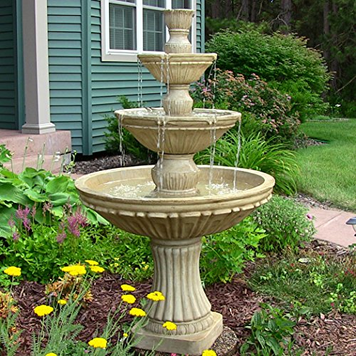 Sunnydaze Classic 3 Tier Designer Outdoor Water Fountain, 55 Inch Tall Round Wall Water Fountain