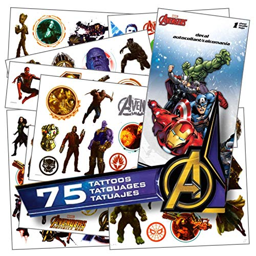 Avengers Tattoos - 75 Assorted Avengers Infinity War Temporary Tattoos Bundled With 1 Jumbo Avengers Sticker -