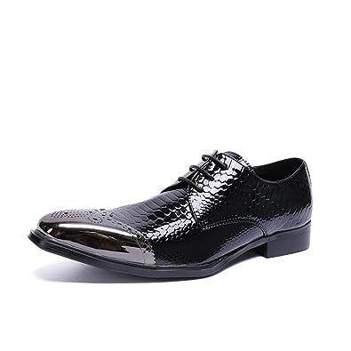 Classique Hommes Chaussures Classique Fait Main en Cuir Soled Workplace Oxford Mode Chaussures À Lacets en Cuir Pointu,Black-41