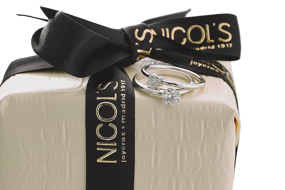 NICOLS 9992522 - Anillo de Compromiso Jackie Oro Blanco (18kt) con Diamante 0.05 Ct: Amazon.es: Joyería