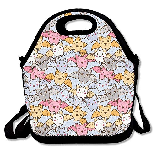 HOOAL Halloween Cute Bat Lunch Bag Box Travel Outdoor Lunchboxes Lunch Tote Handbag for Kids and Adults ()