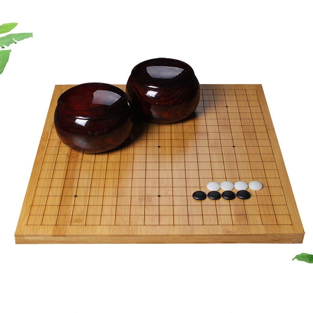 Nwn Go Set,Bamboo Double-sided Chess Board Go Chess Set for Adult Beginner Children - Classic Chinese Strategy Board Game (Size : 4cm) njsdih