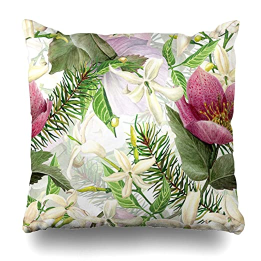 Ahawoso funda de almohada abstracta verde floral acuarela ...