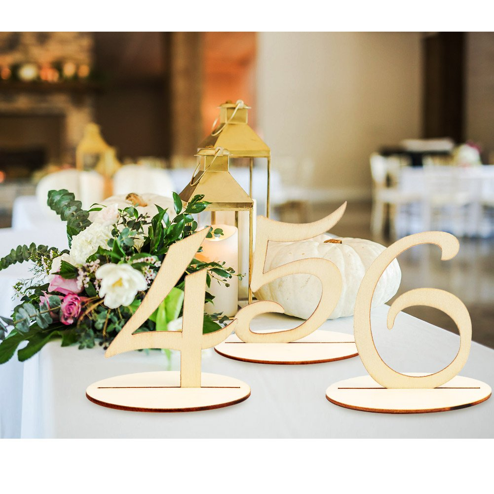 AerWo Wooden Table Number 1-20 Wedding Table Number with Base for Wedding Reception and Wedding Table Decorations