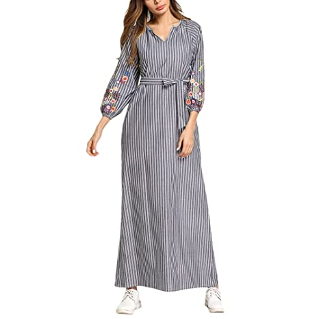Zhhlaixing Abaya Modest Vestido de la Túnica Larga Maxi Formal Elegent Fiesta de Vestir Vestidos de Señoras Mujer Kaftan Marruecos: Amazon.es: Ropa y ...