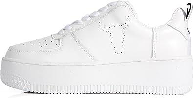 Windsor Smith High Platform Sneaker White Leather Scarpe Doppia Suola Bianche in Pelle