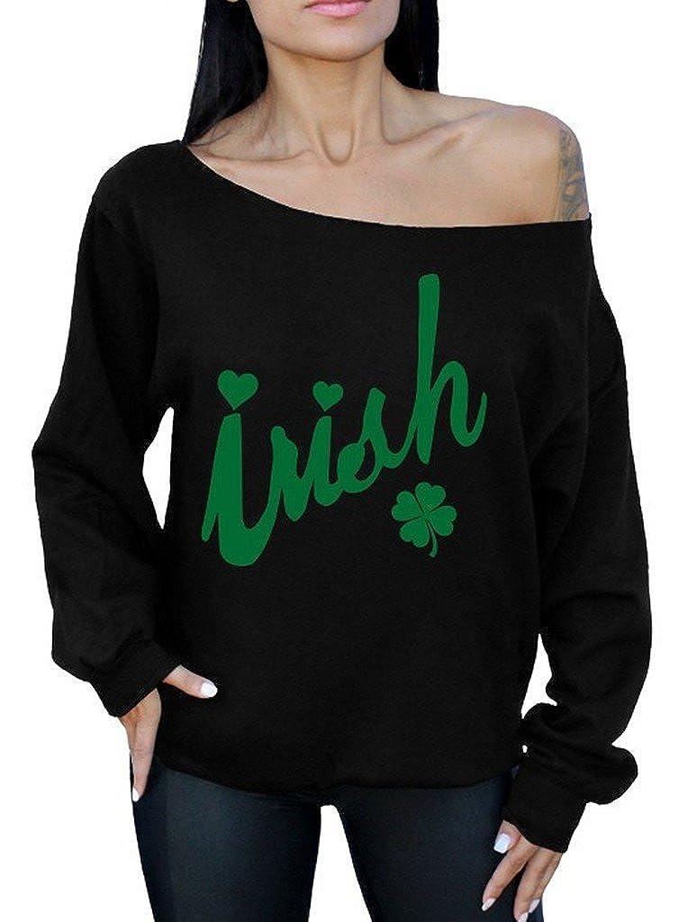 Awkwardstyles Irish Off The Shoulder Oversized Sweatshirt St Patricks Day G