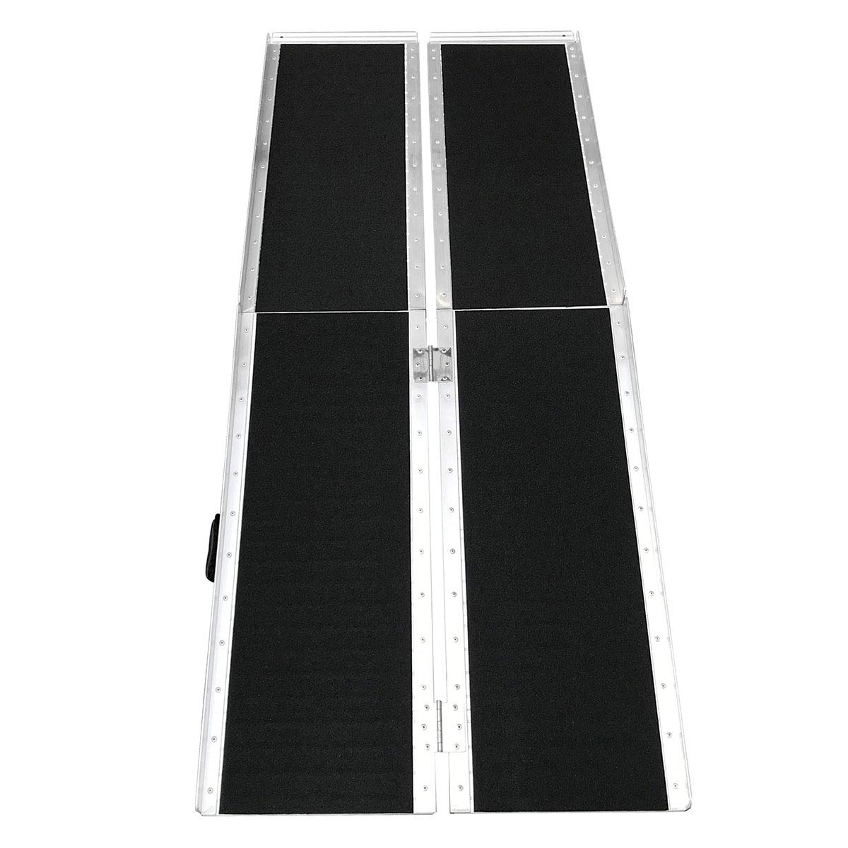 Clevr 6' (72'' X 31'') Non-Skid Aluminum Wheelchair Loading Traction Ramp, Lightweight Folding Portable, Single Fold Wheelchair Scooter Ramp, Extra Wide 31'', Holds up to 600 lbs by Clevr (Image #4)